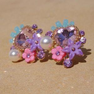 Big Pastel Pink Floral Heart & Pearl Post Earrings